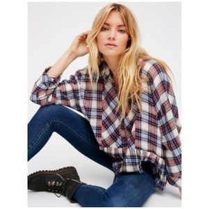 Free People • promise everything plaid ruffle top